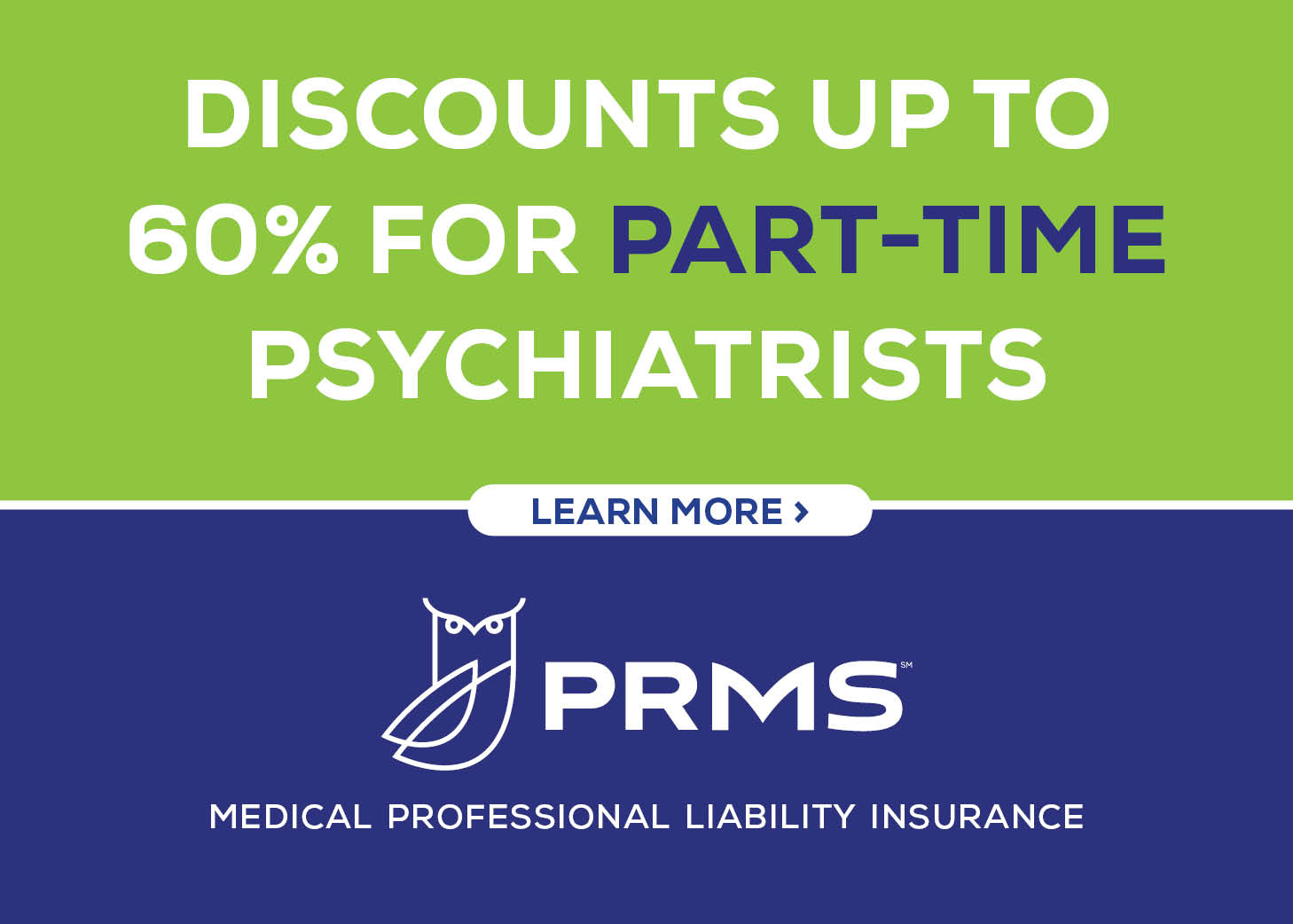 Discounts up to 60% for part-time psychiatrists